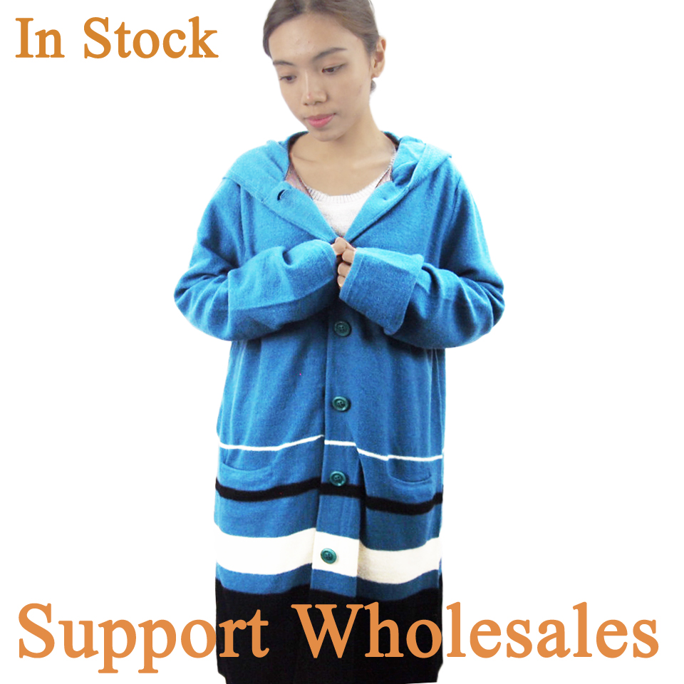 Stock Clothes Hot Selling Low MOQ 100% Wool Stitching Blue Formal Hoody Cardigan Sweater Coat for Girls