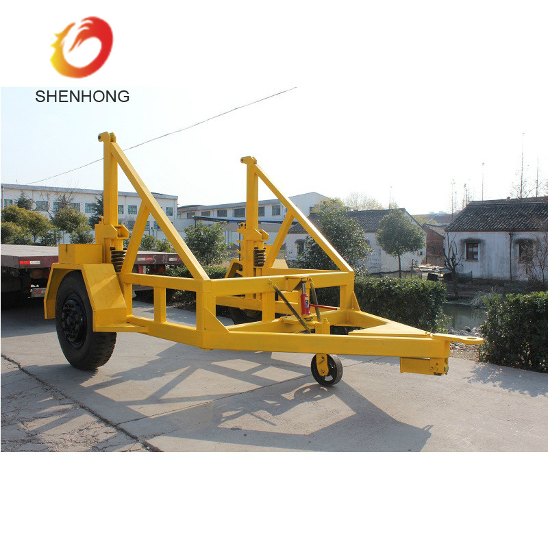 5 Ton Cable Drum Carriage Cable Reel Trailer With Over run Brake System