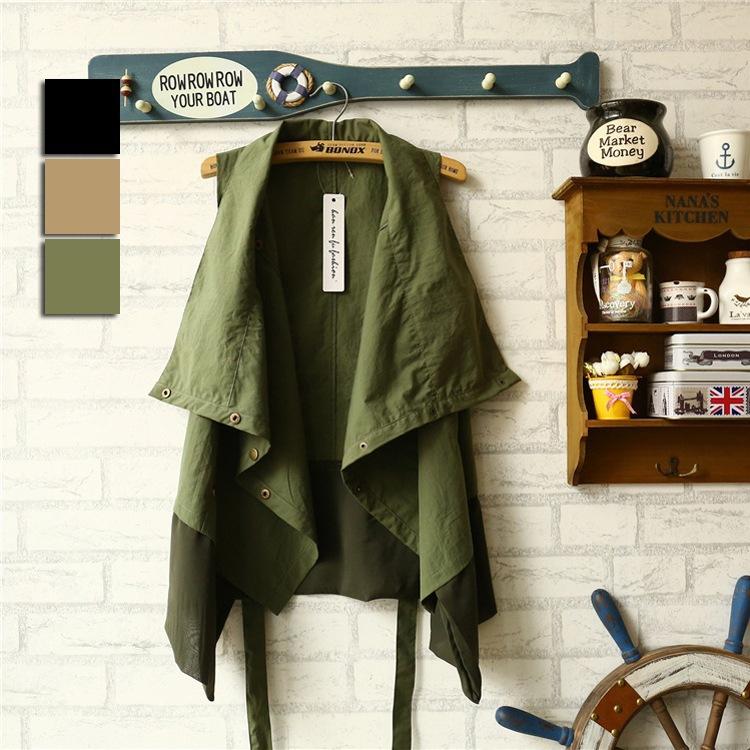 Женщины плетеная ткань ткань жилет женское военный темперамент жилет свободного покроя без рукавов куртка XM0011 / R