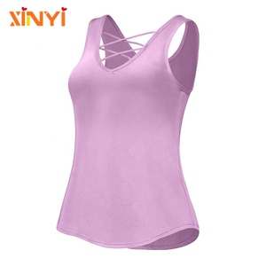 Womens Wholesale Fitness Gym Exercise Tops Breathable Sports Vest Cross Bands Workout Tank Top