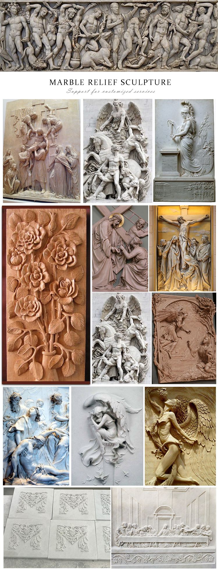 Factory best selling outdoor garden wall decoration artificial flower white marble stone relief for sale
