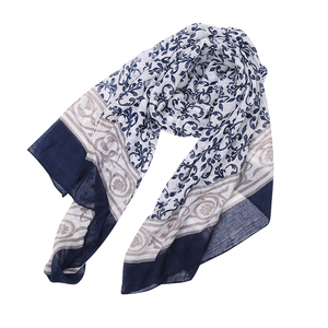 Ladies Muffler 100% Polyester Flower Print Long Voile Thin Scarf