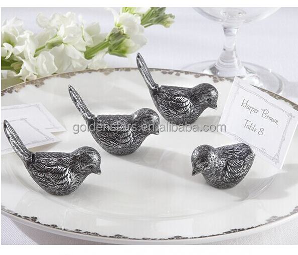 Antique bird shape place card holder business card holder