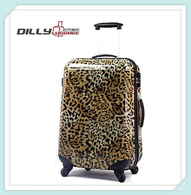 trolley travel fashion bag leopard patterned abs suitcase