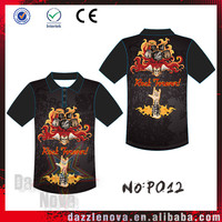 Rock and rolls custom sublimation printing for polyester Polo shirt with high quality