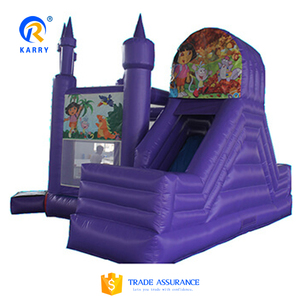 All purple commercial inflatable castle slide combo,inflatable mini combo jumper castle,inflatable castle bouncer for sale