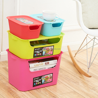 Wholesale candy color open front lid plasitc storage bin four-piece suit storage box