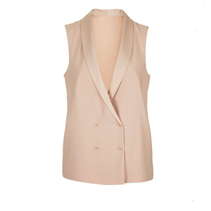 Wholesale 100% polyester sleeveless latest new design fancy women jacket blazer