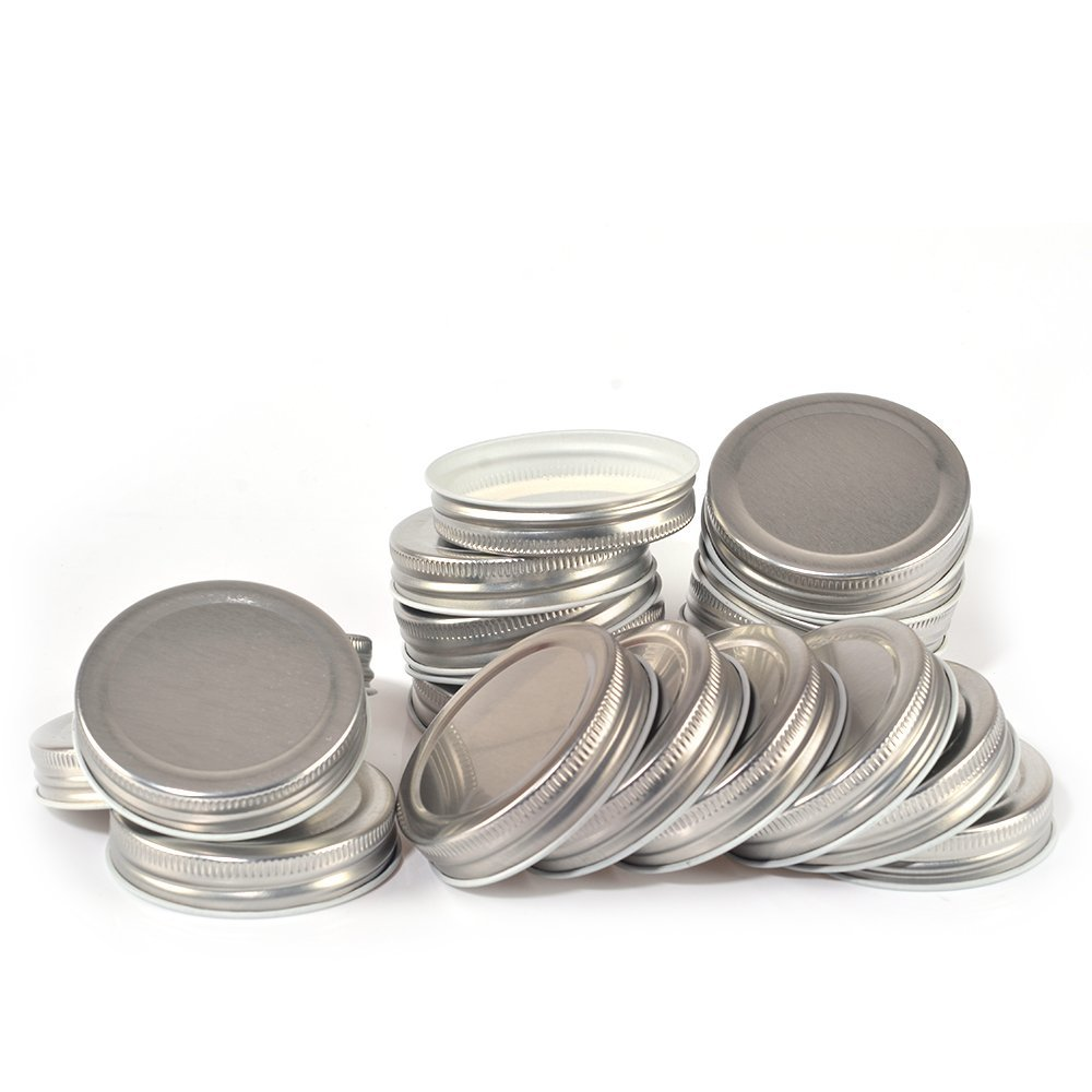 20 Pack, Mason Jar Lids Caps with Silicone Seals, Regular Mouth, Leak Proof and Secure (Silver)