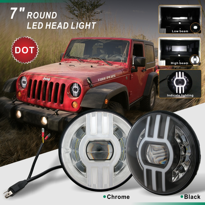 Flowing indicate light round 7 inch  Led sealed beam DOT light
