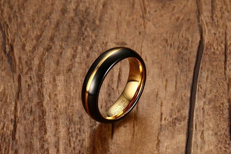 2019 High Quality 6mm Black Gold Tungsten Steel Ring For Man