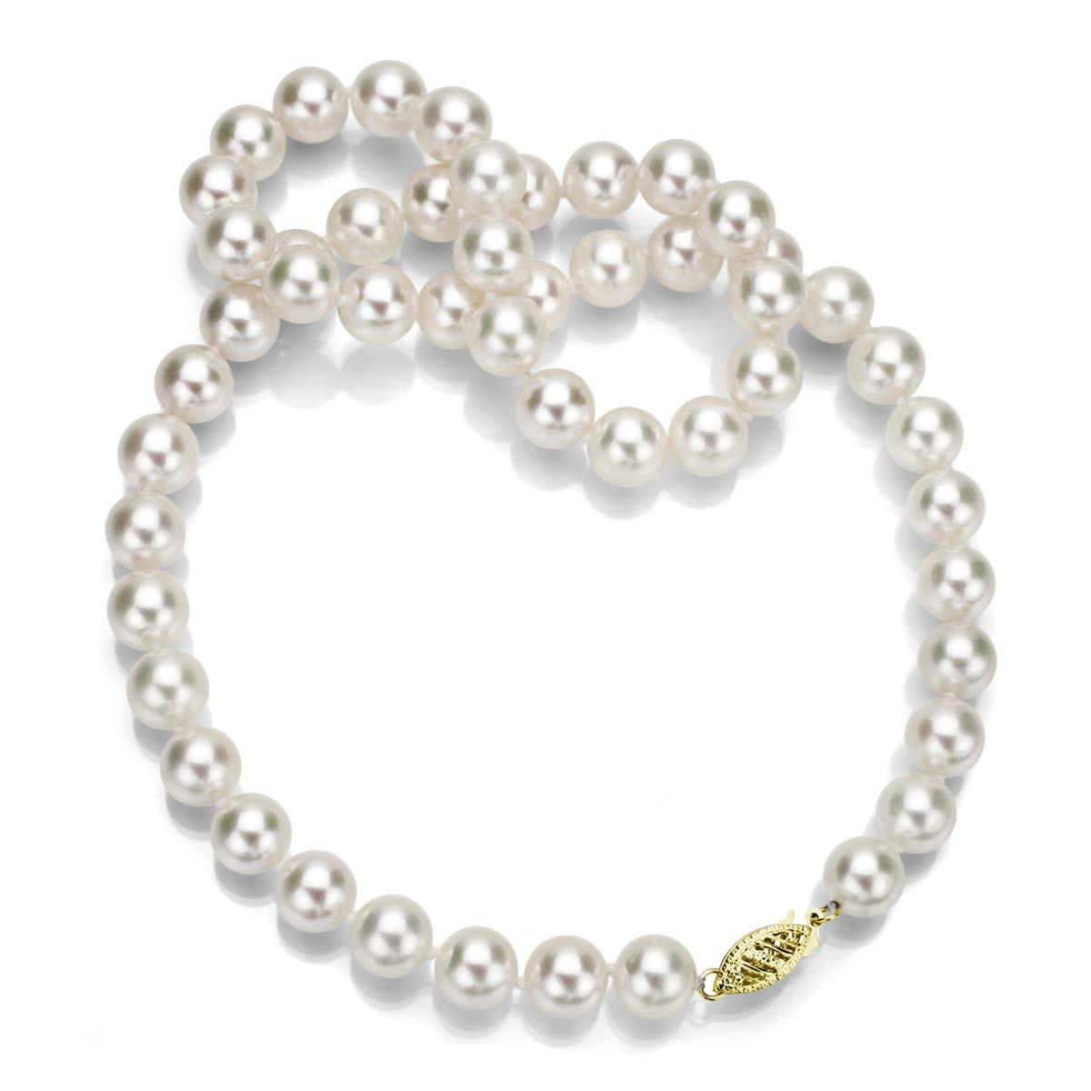 """14k Yellow Gold 6.5-7mm AAA Hand-picked White Akoya Cultured Pearl Necklace, 20"""""""