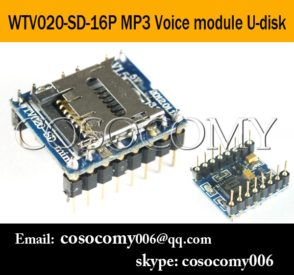 WTV020 U-Disk Audio Player SD card Voice Module MP3 Voice Module WTV020-SD-16P