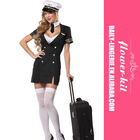 Cosplay Sexy Pilot Costume Flight Attendant Costume for Halloween