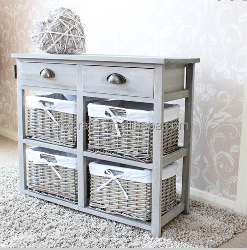 Two Drawer And Wicker Basket Storage