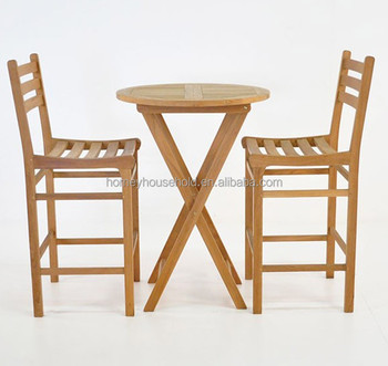 Teak Wooden Used Bar High Chair And Table Set Dining Coffee Table Set