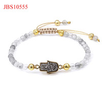 Fashion new design hamsa hand charm cloud crystal beads macrame bracelet for women