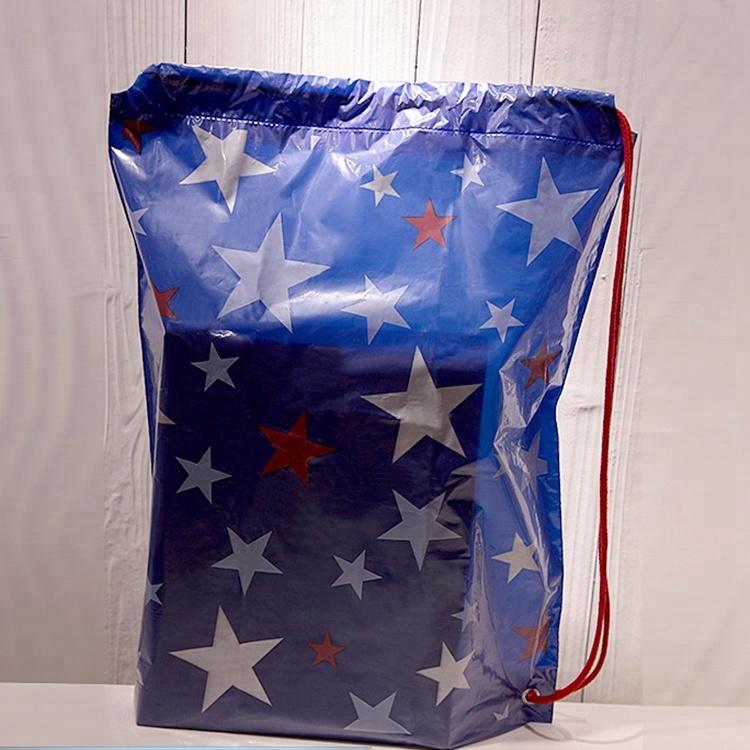 Custom private printed brand logo plastic non woven nylon cotton sports bag