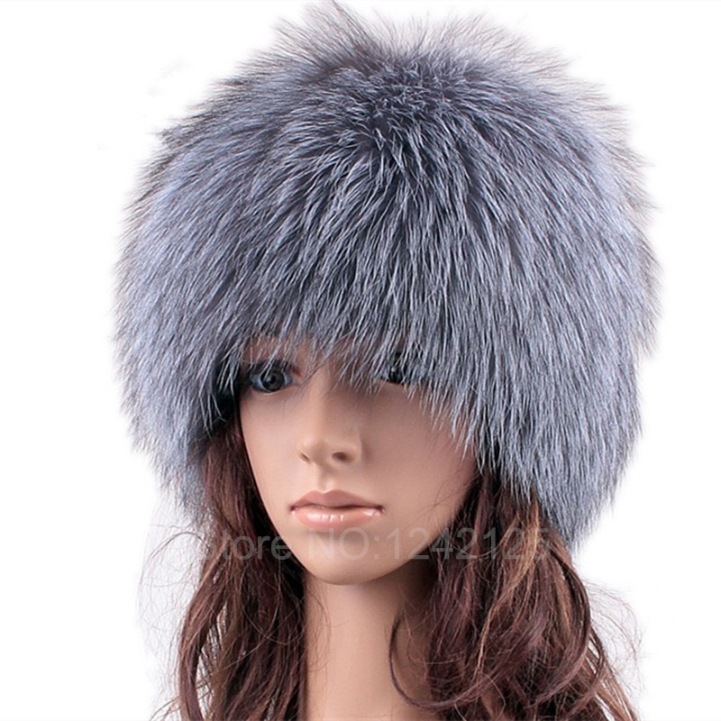 Parent child Silver fox fur hats for women winter warm knitted beanies new fashion real fur