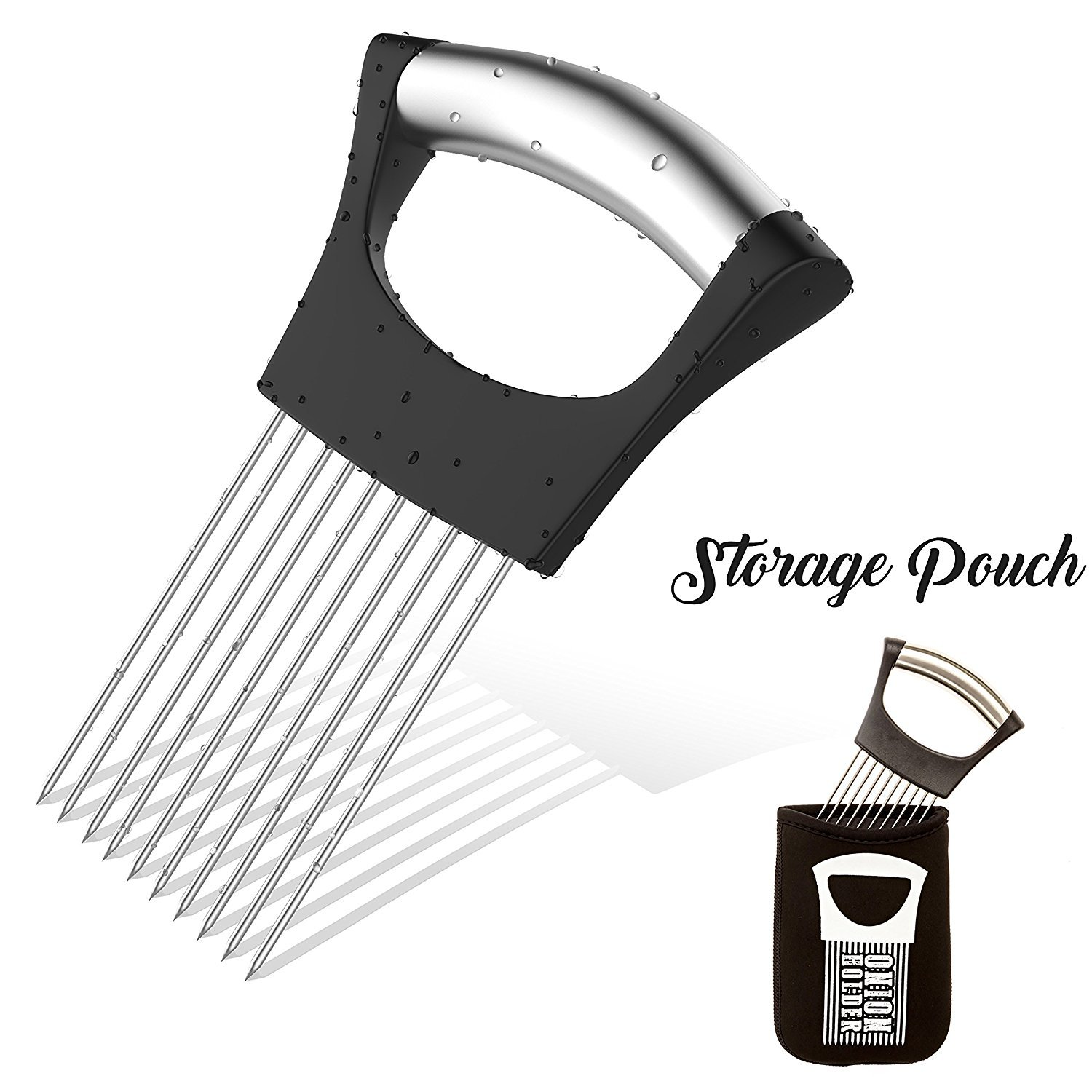 Onion Holder For Slicing | STORAGE POUCH INCLUDED | Vegetable Potato Cutter Slicer | FULL GRIP HANDLE | Odor Eliminator | Stainless Steel Cutting Kitchen Gadget | Onion Peeler | Onion Storage