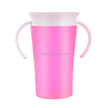 New design rotating magic prevent leaking 260ml plastic 360 degree miracle sippy cup with handle