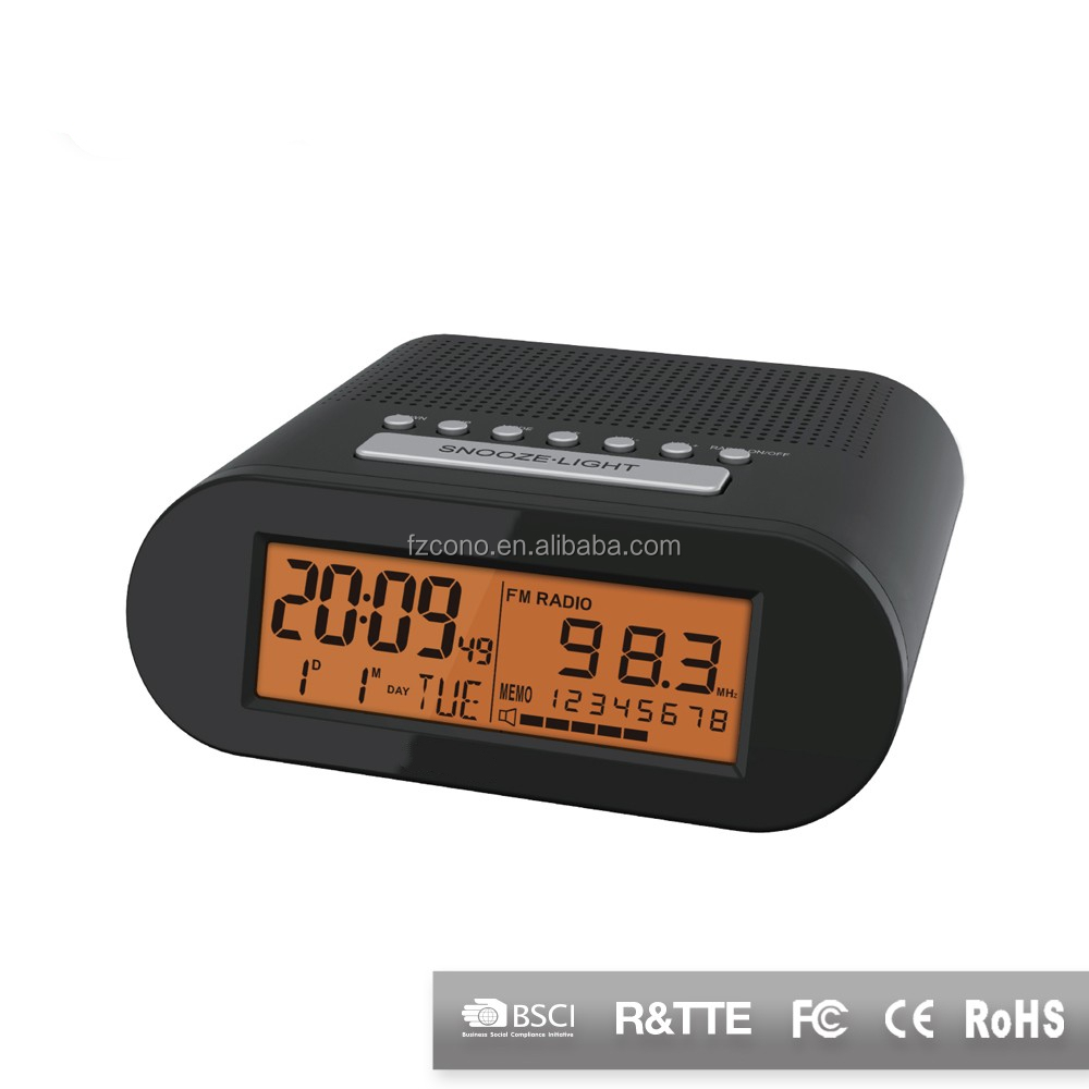 Hot Sale Newest Design LED Backlight Desk Alarm Clock Radio Controlled With Alarm And FM Radio Clock