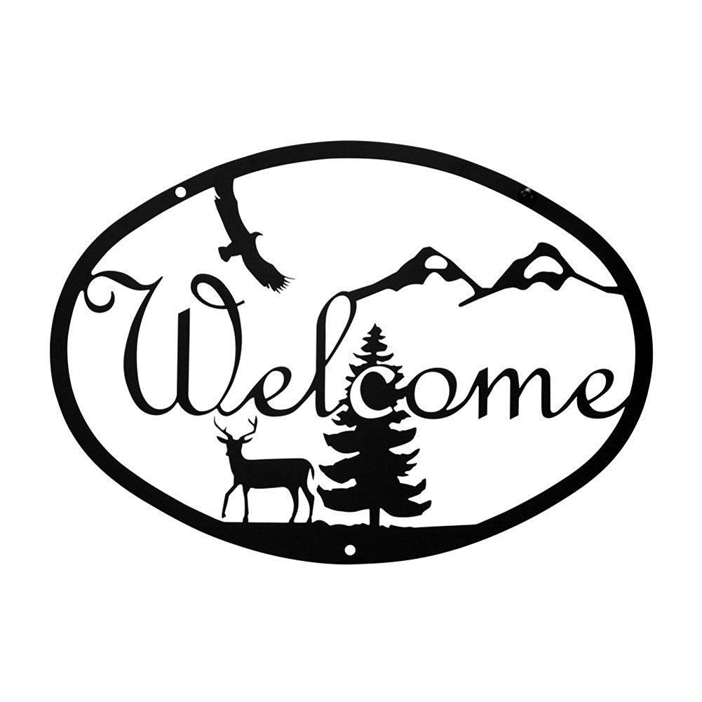 Buy Iron Deer Home Address Welcome Sign Med - Heavy Duty Metal ...