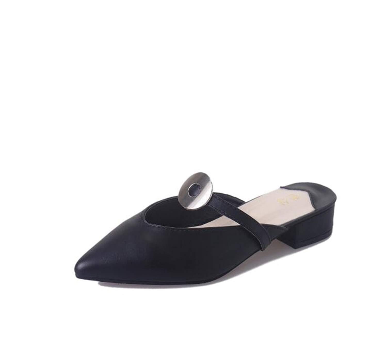 0a905fc5b8f Get Quotations · Zarachielly Womens Pointy Toe Low Kitten Heel Mule Slide  Dress Sandal Shoes
