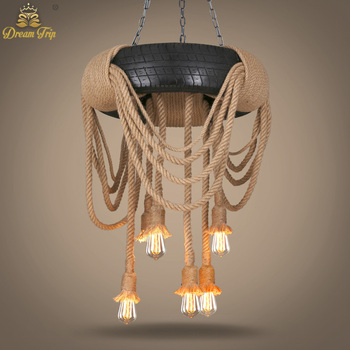 Creative american hemp rope droplight industrial wind tire creative american hemp rope droplight industrial wind tire chandelier pendant light diffuse droplight of coffee bar mozeypictures Images