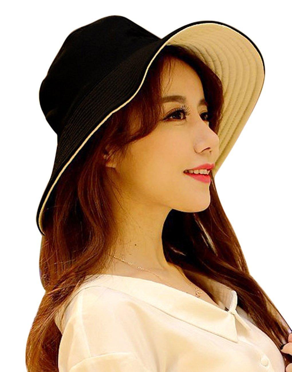 de36cb68334 Women s Ladies Girls Bohemian Style Anti-UV Wide Large Brim Folding Packable  Sun Protective Bucket