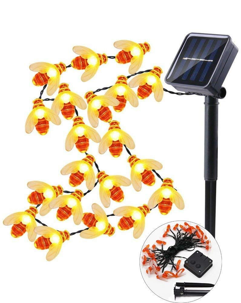 Solar Ladybird Or Bee String Lights Outdoor Garden Decorative 24 LED Fairy