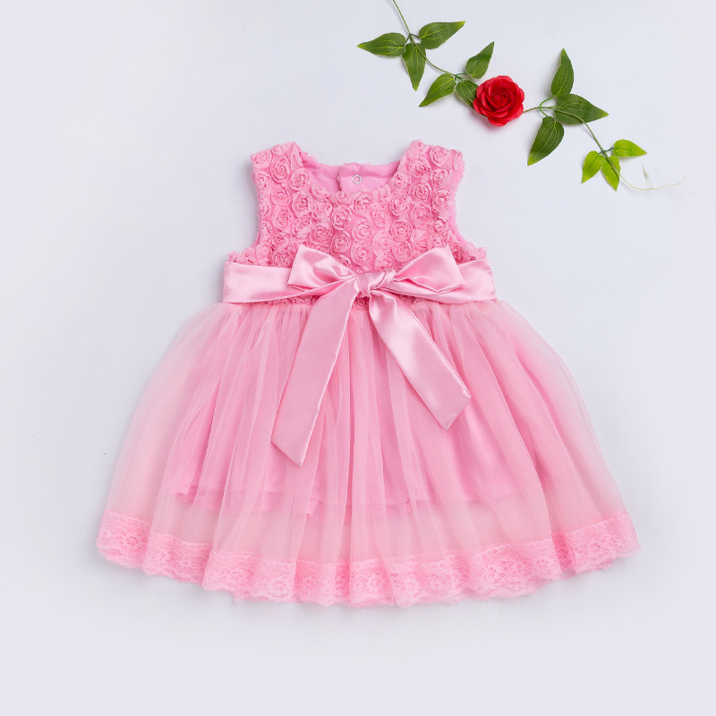 2019 latest sleeveless lace sweet spring summer girls children wholesale clothing dress with bottom price