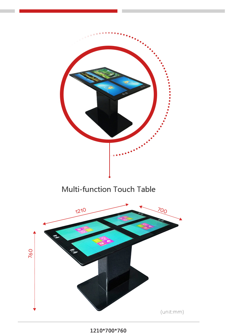 OEM ODM interactive Multifunction 4-screen Touch Table