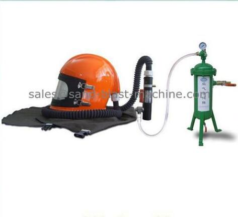 sand blast helmet with temperature regulator and air filter