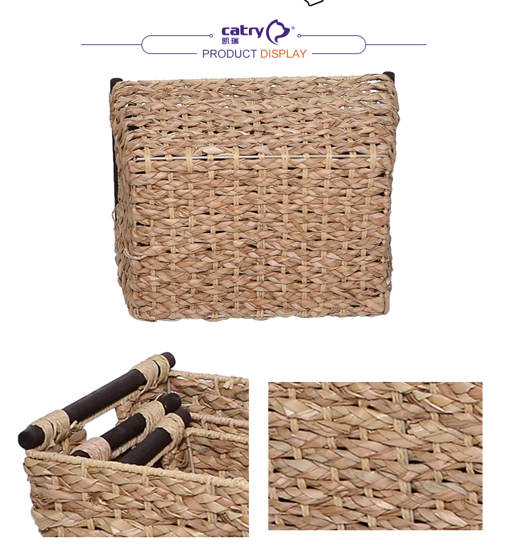 High quality rattan seagrass storage basket organizer box