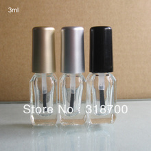 200pcs/lot factory wholesale 3ml square empty nail polish bottle bottles with black,gold,silver lid