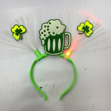 2017 St Patricks Day Party Cheap Green Beer Shape LED Light Headband