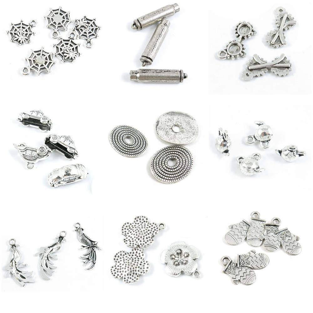 31 PCS Jewelry Making Charms Christmas Gloves Mittens Flower Tag Phoenix Bird Teapot Tea Kettle Pot Rolling