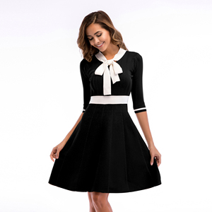 Bowknot Red/Black/White Casual Knit Women Sweater Middle Dress
