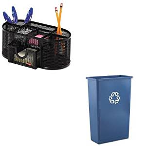 KITRCP354074BLUROL1746466 - Value Kit - Rubbermaid Slim Jim Recycling Container (RCP354074BLU) and Rolodex Mesh Pencil Cup Organizer (ROL1746466)
