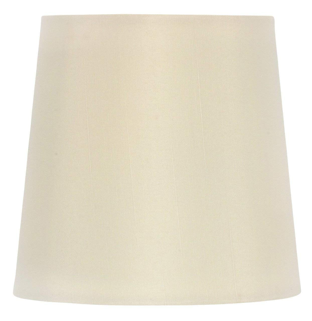 Upgradelights 4 Inch Retro Drum Clip On Chandelier Lamp Shade in Eggshell Silk (3x4x4)