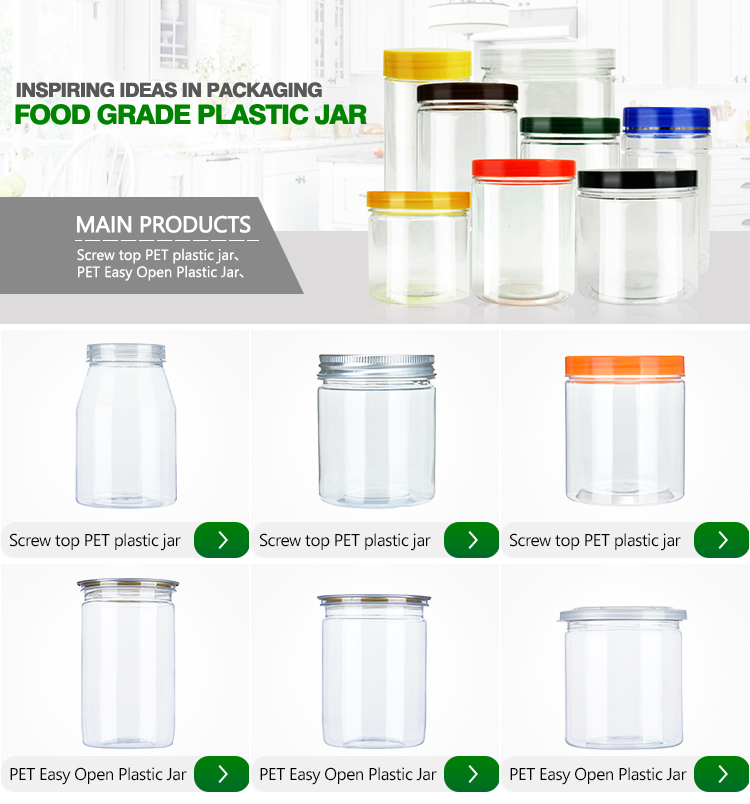 Food Grade clearly plastic jar for candy or nuts