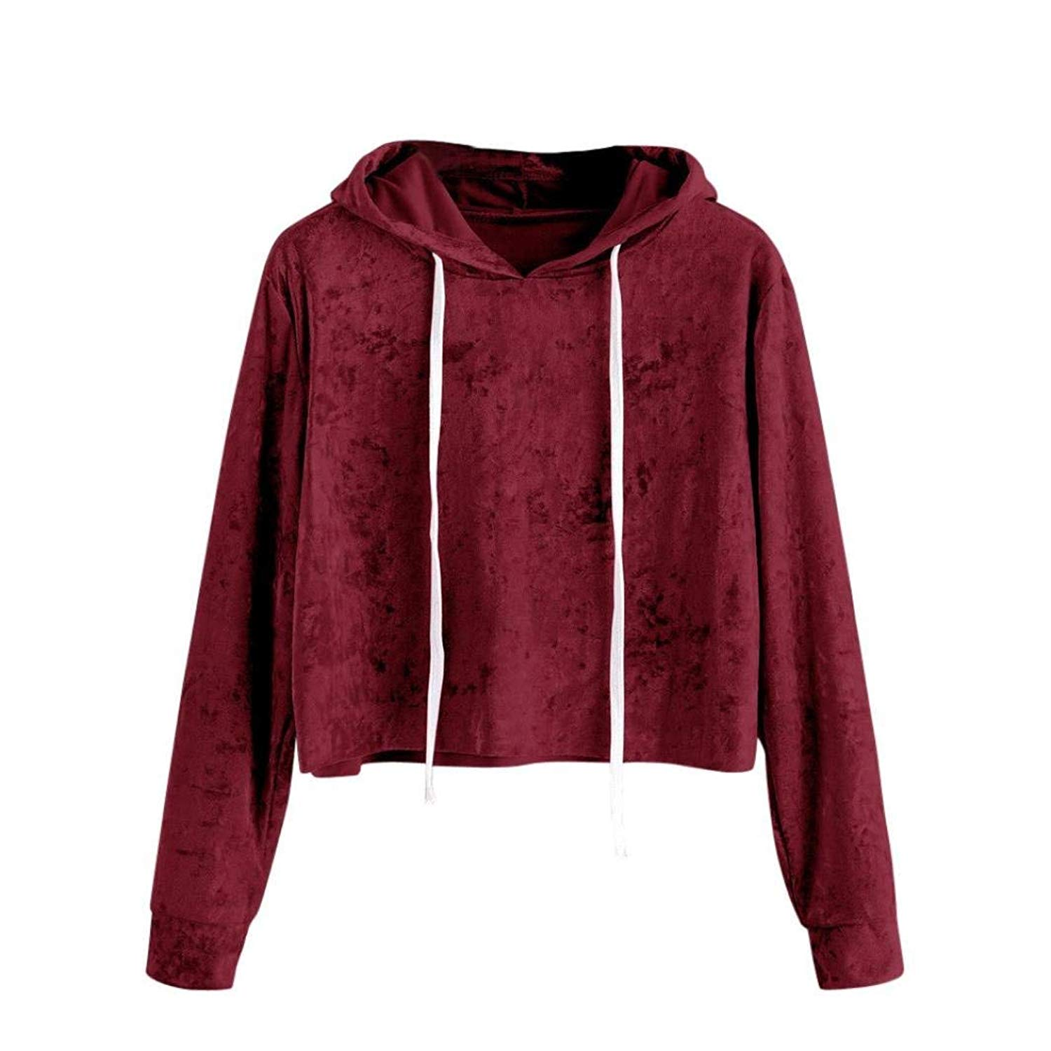 9dcafa21efd926 Get Quotations · BCDshop Women Casual Crop Hoodie Sweatshirt Top Teen Girl  Soft Velvet Pullover Shirts