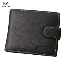 2015 New genuine leather purse short design casual men wallets card holder