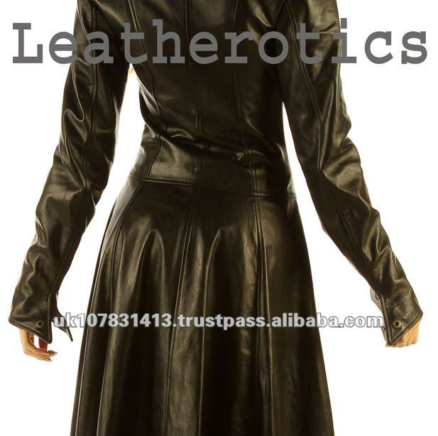 Ladies Leather Full Length Dress Coat Burlesque Alternative ...