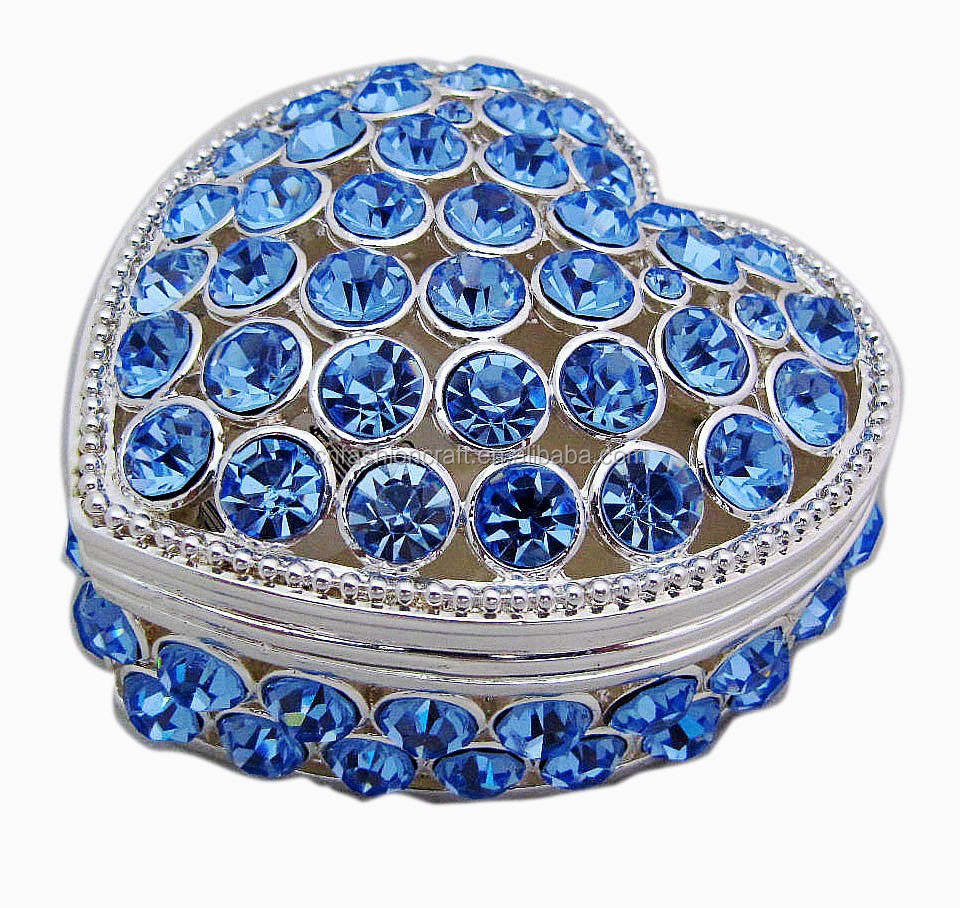 Decorative Rhinestones Heart Shape Metal Small Jewelry Boxes