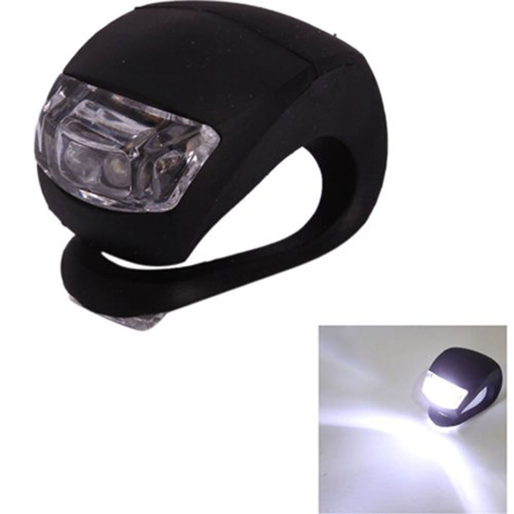 Housweety Bicycle Waterproof Silicone Light Flashing Light Lamp Head Rear Light Flashlight with Double LED (2-led) (Black Silicone, White Led)