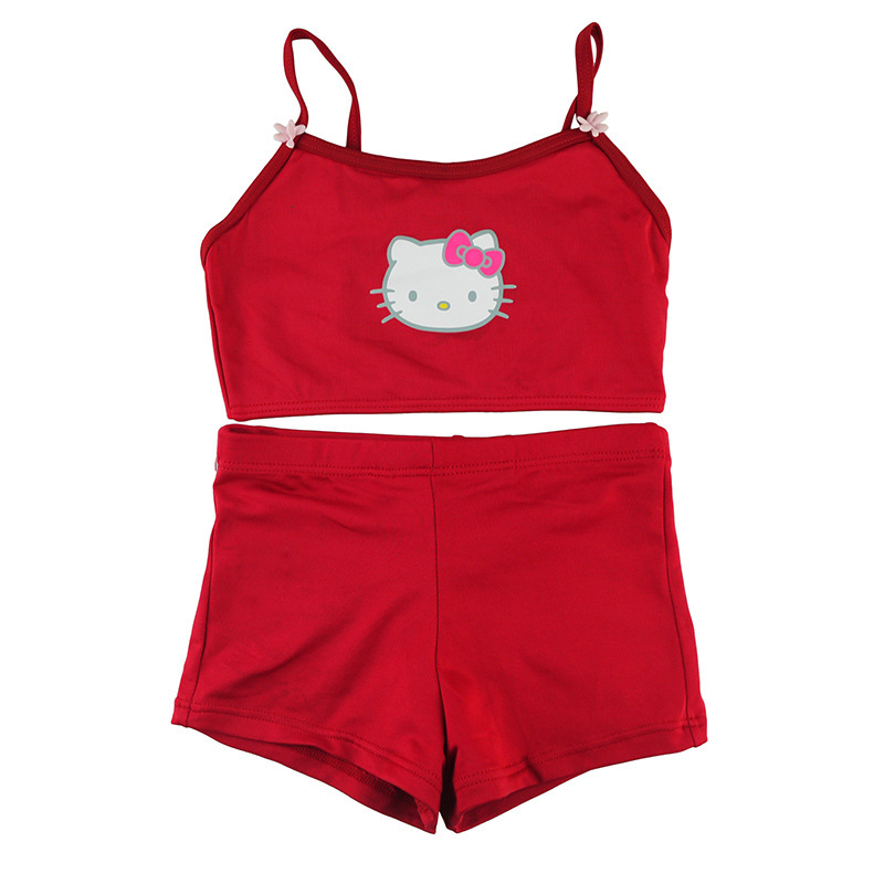 dea9d944d5f97 Get Quotations · 2015 Girl s Cartoon Hello kitty Swimwear baby girl Split  Swimsuit Red Casual Beach Holiday Wear kitty