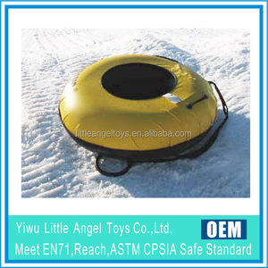 heavy duty inflatable snow tube with nylon cover and hard plastic bottom