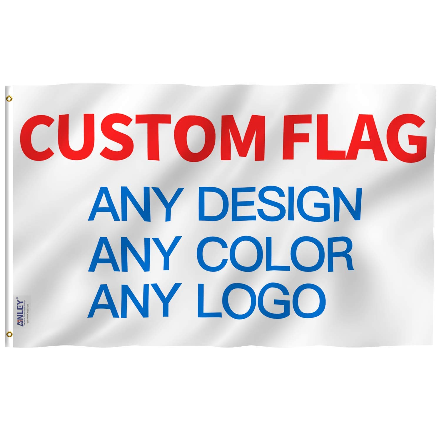 Anley Double Sided Custom Flag 3x5 Ft for Ourdoors - Print Your Own Logo/Design/Words - Vivid Color, Canvas Header and Double Stitched - Customized Two Side Flags Banners with Brass Grommets 3 X 5 Ft